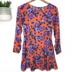 FREE PEOPLE | Parker Floral LS Dress Size 2 Orange